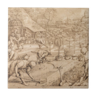 Frühling durch Pieter Bruegel das Älteste Kleine Quadratische Fliese
