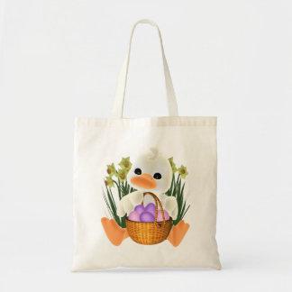 Frühling Ostern Ducky mit Ei-Korb Budget Stoffbeutel