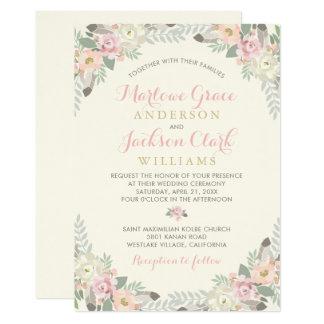 Frühling Vintages Boho der Hochzeits-Einladungs-| Karte