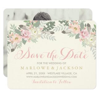 Frühling Vintages Boho des Hochzeits-Foto-Save the Karte