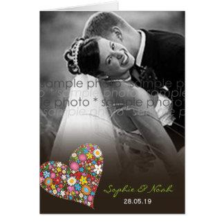 Frühlings-Blumen-Herz-Hochzeit danken Ihnen Karte