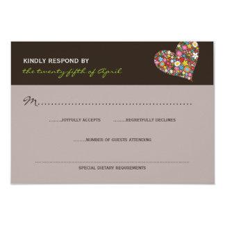 Frühlings-Blumen-wunderliches Herz-Hochzeit UAWG 8,9 X 12,7 Cm Einladungskarte