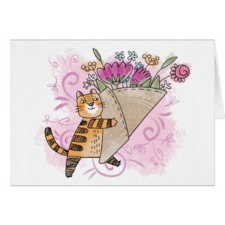 Frühlings-Blumenkatze Grußkarte