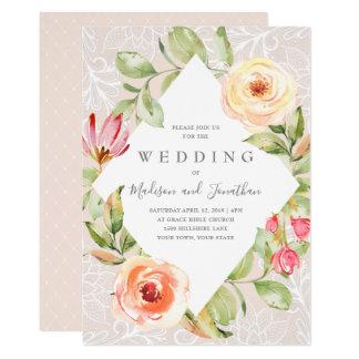 Frühlings-Blumenspitze-Hochzeits-Einladung Karte