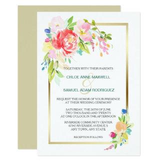 Frühlings-Blumenstrauß-Goldrahmen-Hochzeit Karte