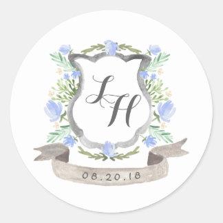 Frühlings-BlumenWappen-Hochzeit Runder Aufkleber