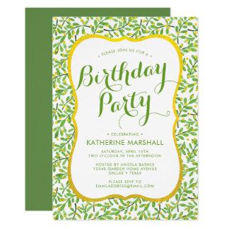 Frühlings-Grün verlässt Geburtstag Karte