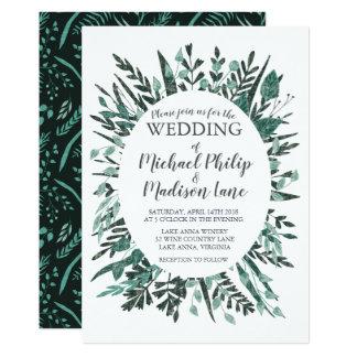 Frühlings-grüne Laub-Hochzeits-Einladung Karte