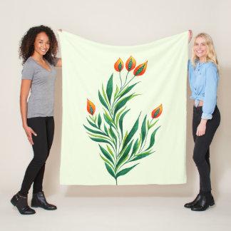 Frühlings-grüne Pflanze mit den orange Knospen Fleecedecke
