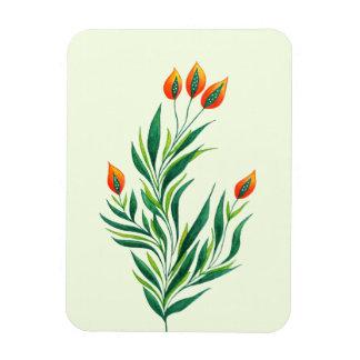 Frühlings-grüne Pflanze mit den orange Knospen Magnet