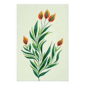 Frühlings-grüne Pflanze mit den orange Knospen Poster
