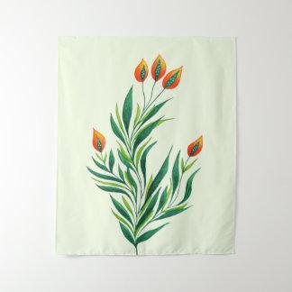 Frühlings-grüne Pflanze mit den orange Knospen Wandteppich