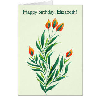 Frühlings-grüne Pflanze mit orange Karte