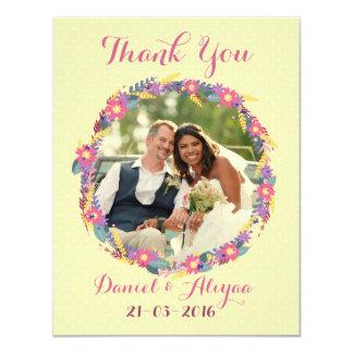 Frühlings-Hochzeits-Kranz danken Ihnen Mitteilung 10,8 X 14 Cm Einladungskarte