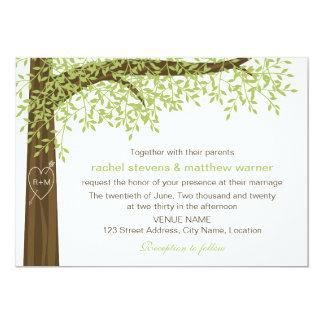 Frühlings-und Sommer-Herz-Baum-Hochzeit 12,7 X 17,8 Cm Einladungskarte