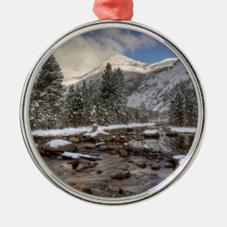 Frühlingsschnee, Sierra Nevada, CA Silbernes Ornament
