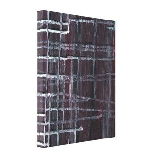 Frustration - dunkle Farblineare abstrakte Malerei Leinwanddruck