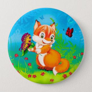 Fuchs und Schmetterling Runder Button 10,2 Cm