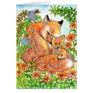 Füchse, die in Blumen-Flecken streicheln Karte