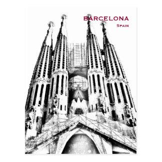 Fügen Vintager Reise-Tourismus Spaniens Barcelona Postkarte