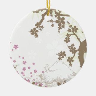 Fuji und Kirschblüte - Braun Rundes Keramik Ornament