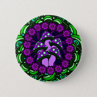 Fünf lila Pilz-Knopf Runder Button 5,1 Cm