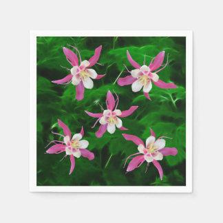 Fünf rosa Columbine-Blumen Papierserviette