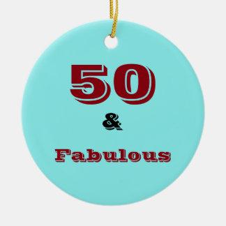 Fünfzig und fabelhafte Feierverzierung Rundes Keramik Ornament