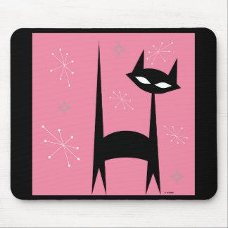Fünfzigerjahre Retro schwarze Katzen-Pop-Kunst Mauspad