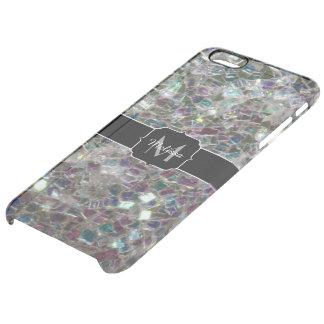 Funkelnd buntes silbernes Mosaik Monogramm Durchsichtige iPhone 6 Plus Hülle