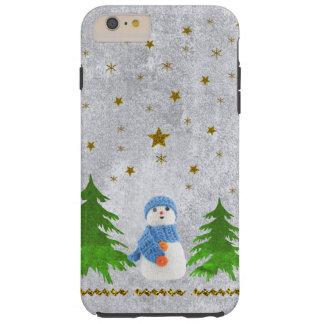 Funkelnd Goldsterne, Snowman und grüner Baum Tough iPhone 6 Plus Hülle
