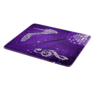 Funkelnd purpurrote lila Musik-Anmerkung u. Schneidebrett