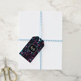 Funkelnd rosa blaues Mosaik-Glitter-Glitzern Geschenkanhänger
