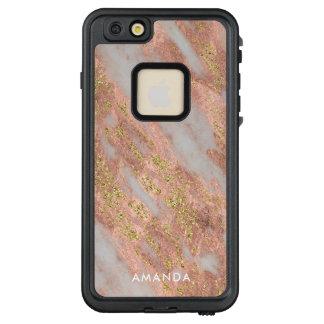 Funkelnder rosa Marmor mit kundenspezifischem LifeProof FRÄ' iPhone 6/6s Plus Hülle