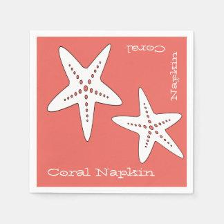 Funky und niedliche Starfish-korallenrote Serviette