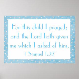 Für dieses Kind betete ich Babyplakat Poster