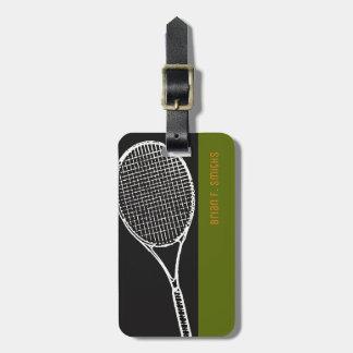 für eine Tennisspieler Reise ein Schwarzes u. ein Kofferanhänger