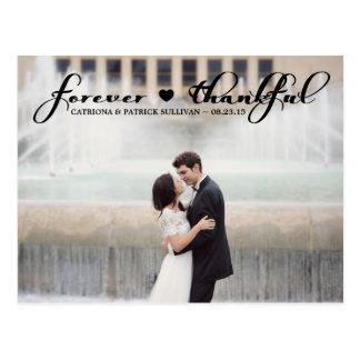 Für immer danken dankbare Skript-Hochzeit Ihnen Postkarte