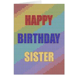 Für Schwester eine Querstich-Geburtstagskarte Grußkarte
