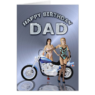 Für Vati, Geburtstag mit Mädchen und ein Motorrad Grußkarte