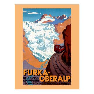 Furka Oberalp Schweizer Vintages Bahnplakat Postkarte