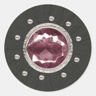 Fuscia diamante de imitación-Aufkleber Runder Aufkleber