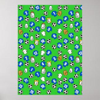 Fußball-Entwurfs-Wand-Plakat mit blauen Shirts Poster
