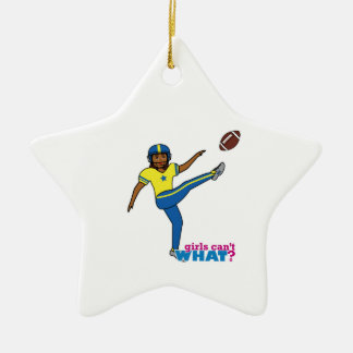 Fußball-Mädchen Keramik Stern-Ornament