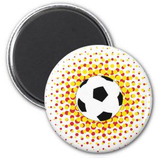 Fußball mit Rot und Gelb Runder Magnet 5,7 Cm