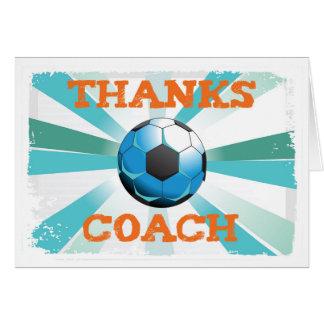 Fußball-Trainer-Dank, orange auf aquamarinem, Karte