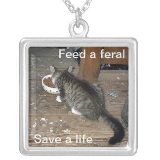 """""""Füttern Sie ein wildes, retten ein Leben"""" wilde Versilberte Kette"""