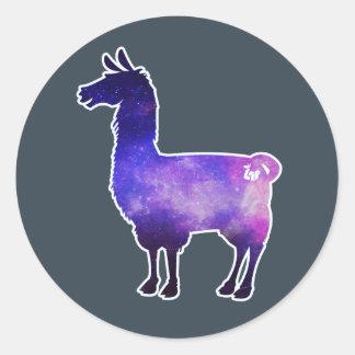 Galaktische Lama-Aufkleber Runder Aufkleber