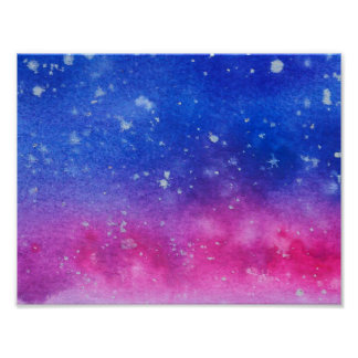 Galaxie-Wasserfarbe Poster