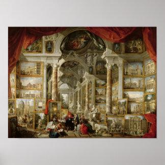 Galerie mit Ansichten von modernem Rom, 1759 Poster